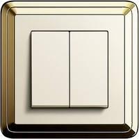 Выключатель двухклавишный Gira ClassiX Латунь/Кремовый