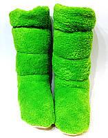 Тапочки сапожки махровые салатовые