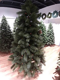 Искусственная новогодняя зеленая сосна с литыми ветками и коричневыми шишками, высота 2,2 м