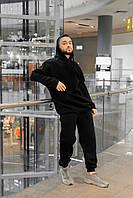 Спортивный костюм мужской черный теплый зимний качественный модный Оверсайз, фото 1