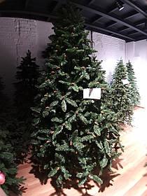 """Искусственная зеленая елка с ветками ПВХ и коричневыми шишками """"Рождественская"""", высота 2,1 м"""