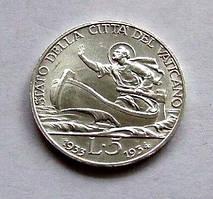 Ватикан 5 лір 1933 - 34 р. срібло ЛЮКС !