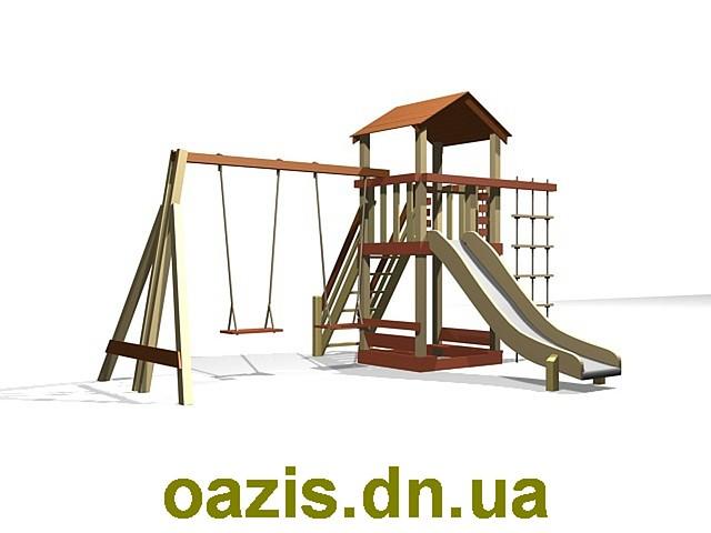 """Детская площадка """"Вежа-1"""" с деревянной крышей и качелями от """"Стожар"""""""