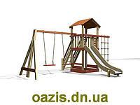 """Детская площадка """"Вежа-1"""" с деревянной крышей и качелями от """"Стожар"""", фото 1"""