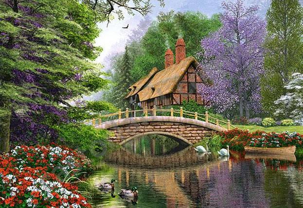 Пазлы 1000 элементов Castorland 102365 Дом на реке, фото 2