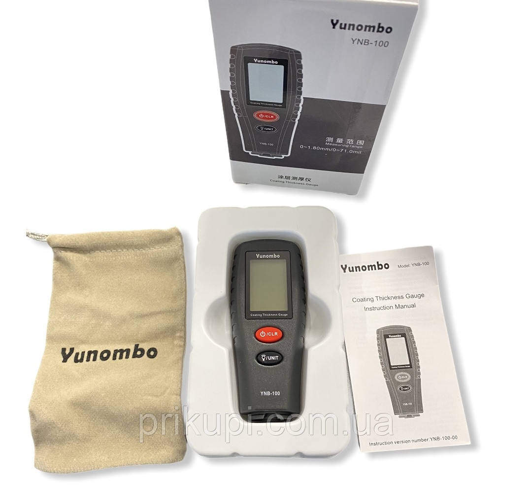 Товщиномір фарби автомобільний цифровий Yunombo YNB-100 автокалібрування 0~1.80 мм + 2 батарейки