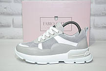 Модні кросівки на платформі натуральна шкіра сірі Fabio Gutti