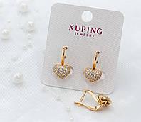 Серьги Xuping в форме сердечка с белыми фианитами - позолота 18К, высота 19мм, ширина 9мм.