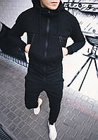 Спортивний костюм зимовий, теплий якісний чоловічий чорний без логотипу, фото 1