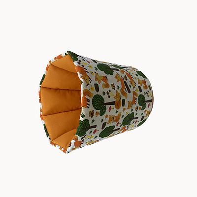 Мешок (корзина) для хранения, Ø30*35 см, (хлопок), (лисички в лесу на молочном)