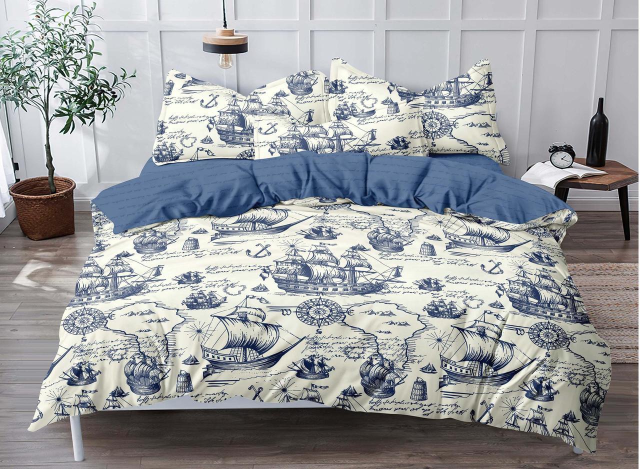 Двуспальный комплект постельного белья евро 200*220 сатин (18102) TM КРИСПОЛ Украина