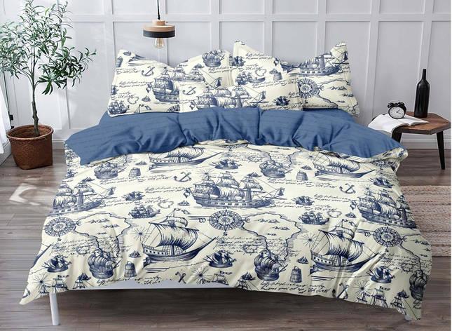 Двуспальный комплект постельного белья евро 200*220 сатин (18102) TM КРИСПОЛ Украина, фото 2