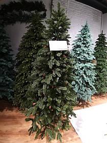"""Искусственная зеленая елка с литыми ветками и коричневыми шишками  """"Рождественская"""", высота 2,2 м"""