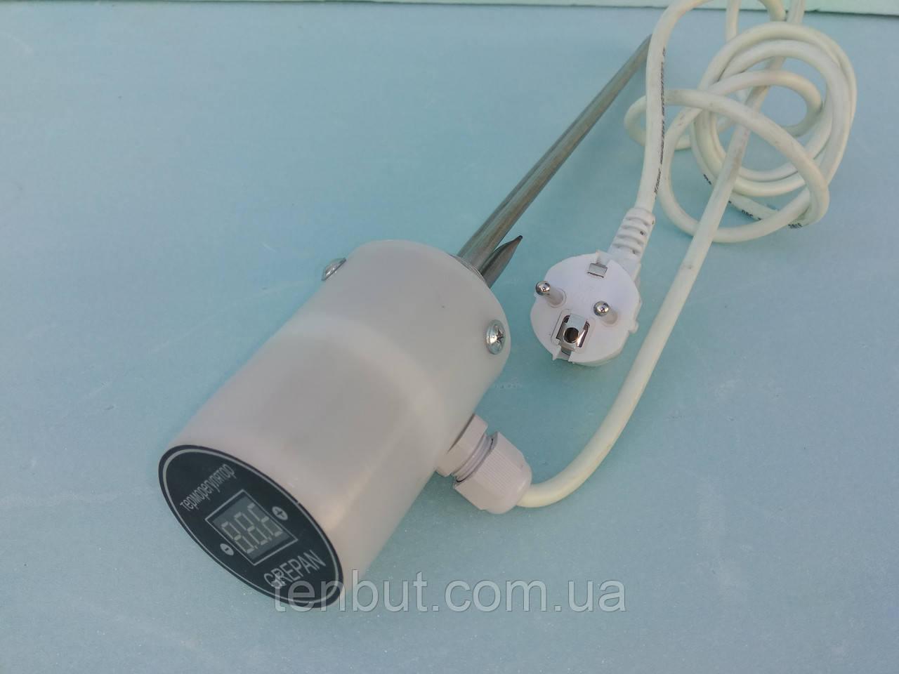 """Тен в алюмінієву батарею з цифровим терморегулятором права різьба 1.5 кВт./1"""" дюйм /L-520мм. Україна GREPAN"""