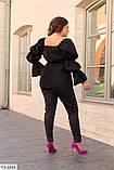 Жіноча блузка чорного кольору коттоновая блузка розмір: 48-52, 54-58, 60-64, фото 2