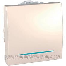 Кнопковий вимикач одноклавішний з інд. ламп 10А, 2 модуля, Слонова кістка, Unica MGU3.206.N 25