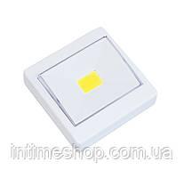 Светодиодный LED светильник-кнопка на магните и липучке Белый, светодиодная подсветка-лампа на батарейках (TI)