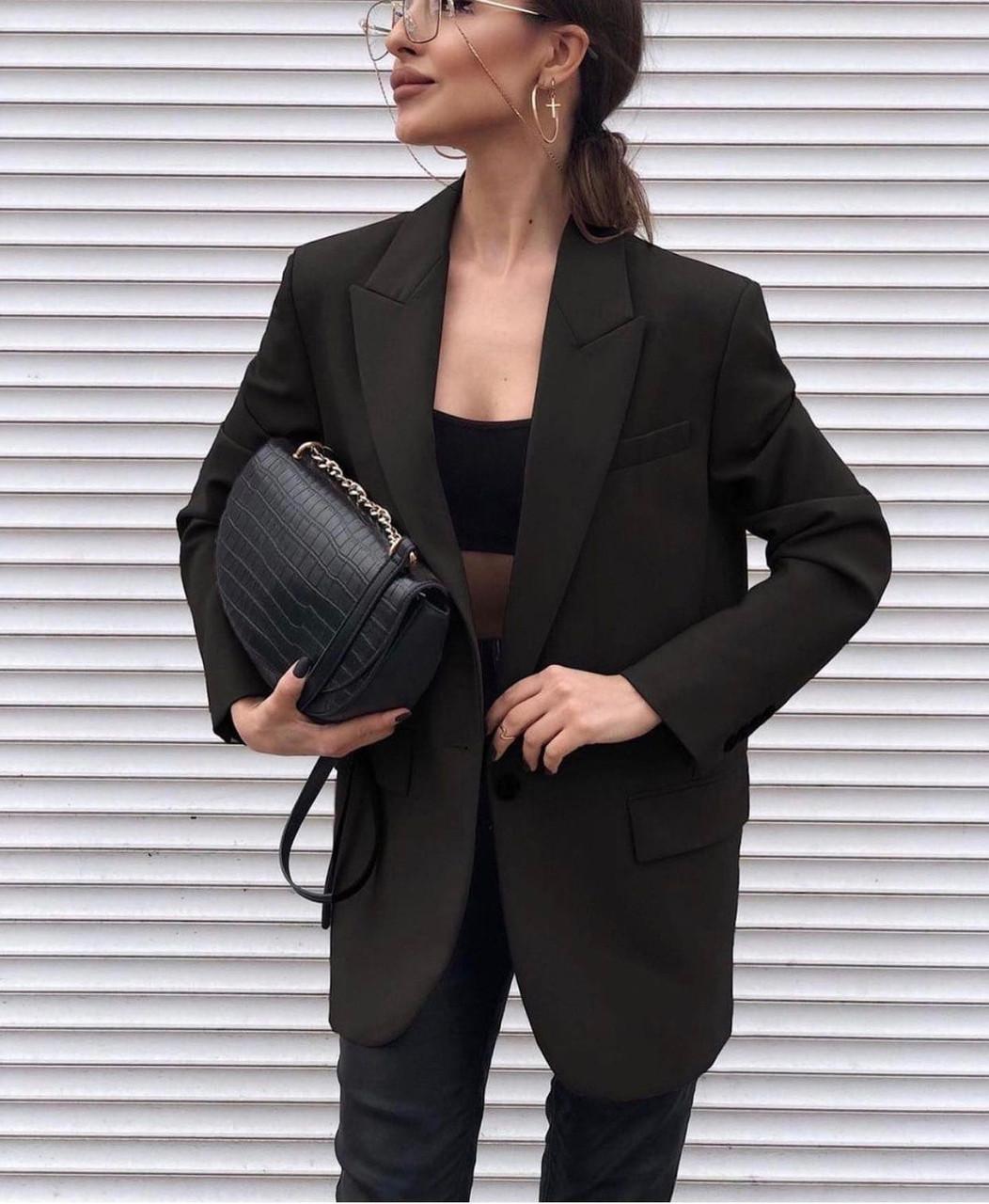 Жіночий піджак костюма люкс, р-р 42-44; 44-46 (чорний)