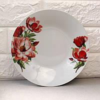 """Тарелка глубокая полупорционная суповая с цветами 8""""  """"Пион"""" (4365)"""