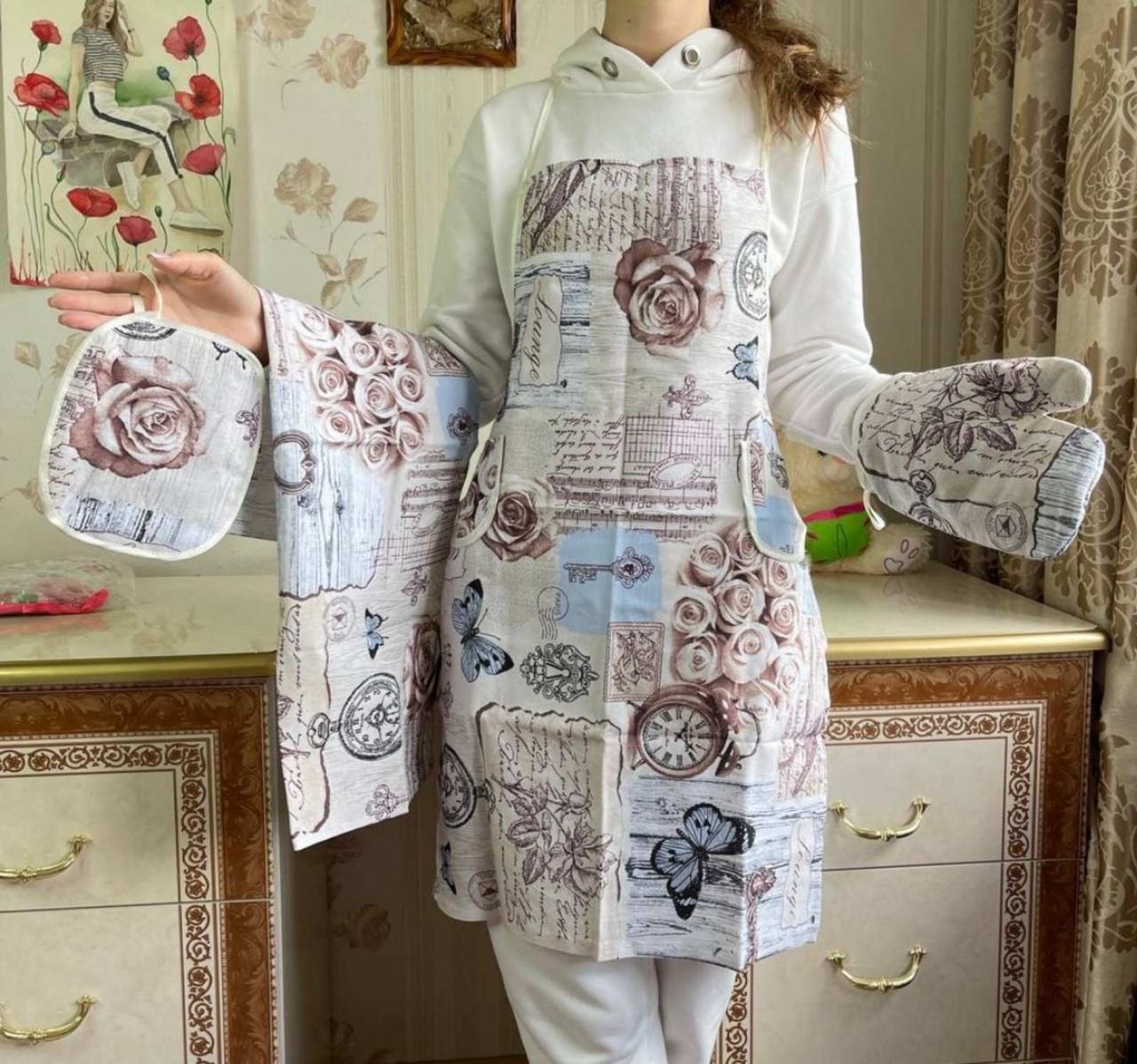 Набор кухонного текстиля/Кухонный набор льняной из 4 предметов/Подарочный набор для женщин