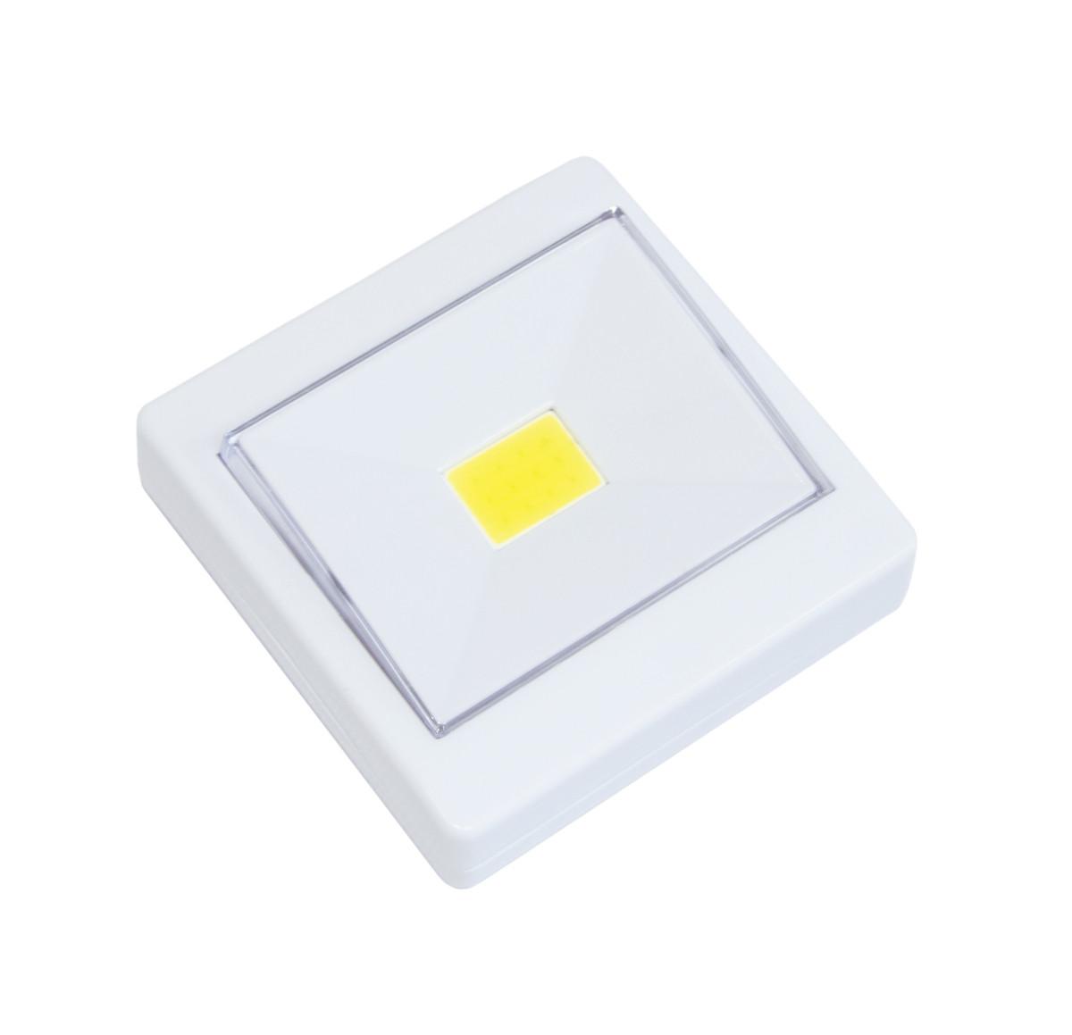 Светодиодный LED светильник-кнопка на магните и липучке Белый, светодиодная подсветка-лампа на батарейках (GK)