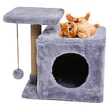 Домик-когтеточка с полкой Милана 43х33х45 см дряпка угловая для кота. Лежанка игровой комплекс котов. Серый