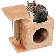 Домик-когтеточка с полкой Милана 43х33х45 см дряпка угловая для кота. Лежанка игровой комплекс котов. Бежевый