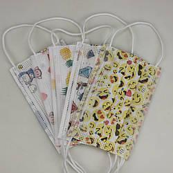 Детская медицинская маска одноразовая 3-х слойная комплект 5 шт разных рисунков