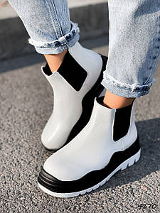 Ботинки женские Bale белые + черный эко-кожа ))