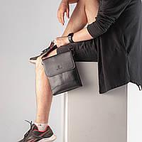 Мужская сумка из натуральной кожи/Сумка через плечо черная кожаная/Сумка мессенджер почтальон 21*26*4