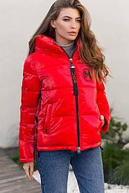 Коротка зимова куртка червоного кольору пуховик коротка розмір 42-52