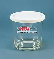"""Посуд (склянку) скляний 0,4 л круглий з білою пластиковою кришкою """"Igloo"""" Borgonovo (Італія)"""