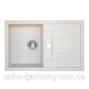 Гранитная мойка для кухни Platinum 7850 TROYA матовая Белая в точку