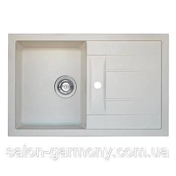 Гранитная мойка для кухни Platinum 7850 TROYA матовая Белоснежная