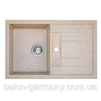 Гранитная мойка для кухни Platinum 7850 TROYA матовая Карамель