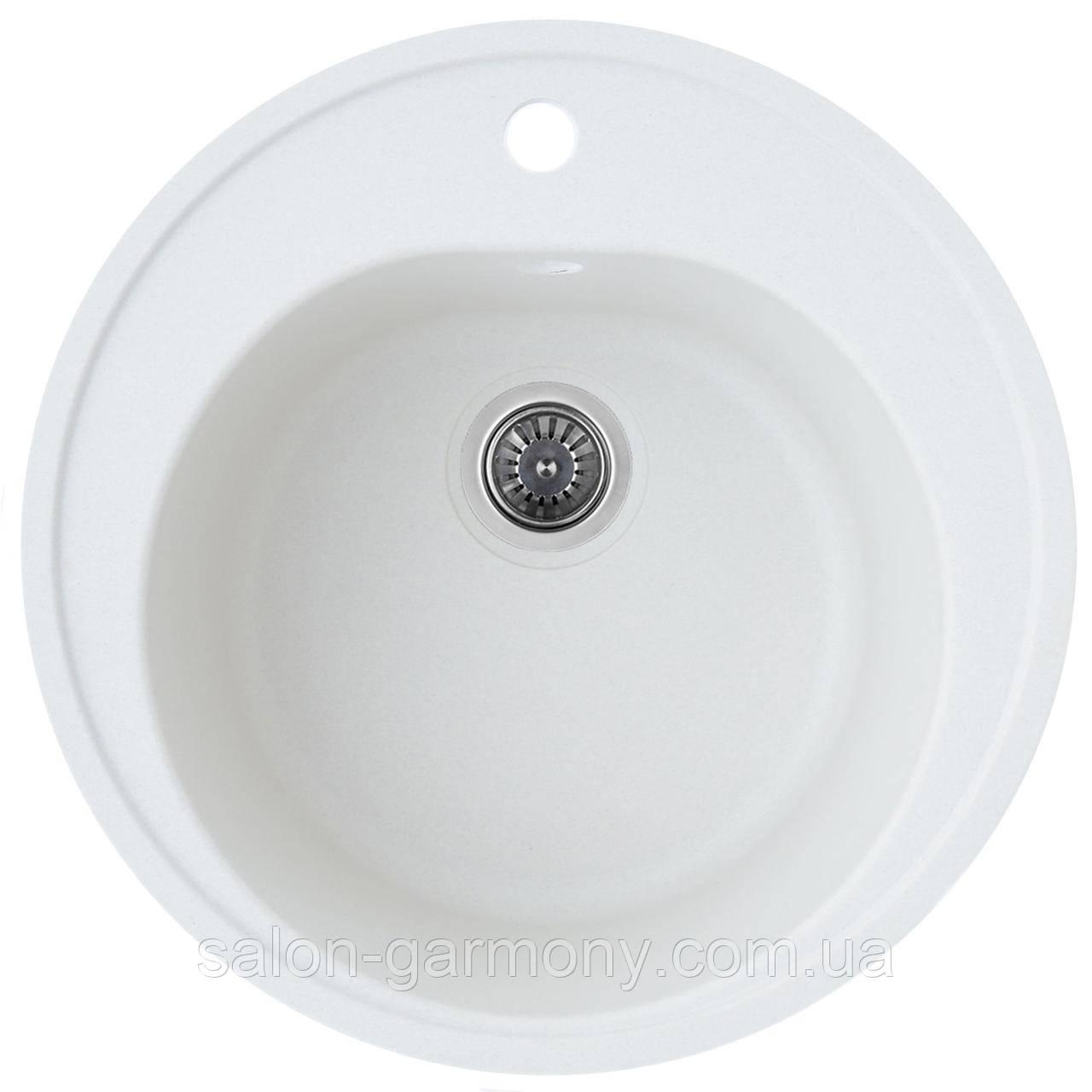 Гранітна мийка для кухні Platinum 510 LUNA матова Білосніжна