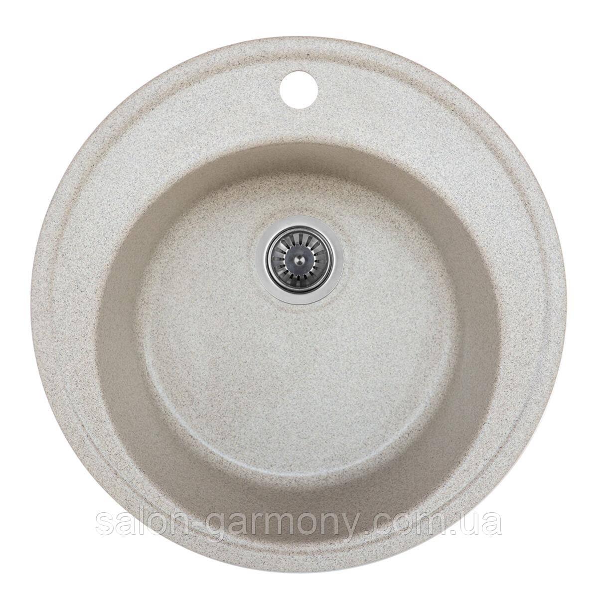Гранітна мийка для кухні Platinum 510 YARA Сірий металік глянець