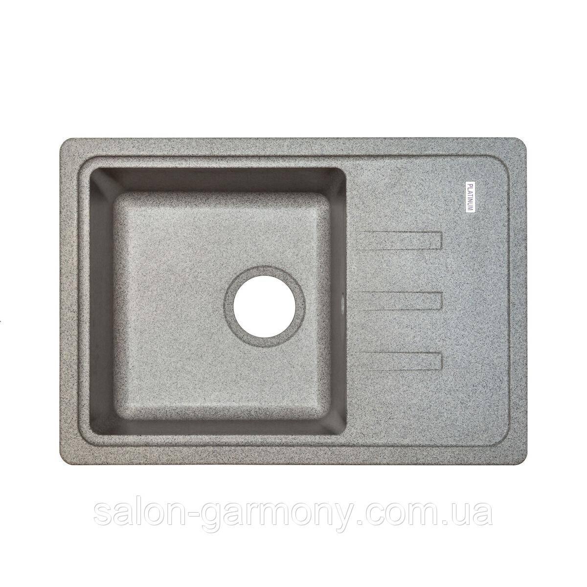 Гранітна мийка для кухні Platinum 6243 LIANA матовий Сірий металік