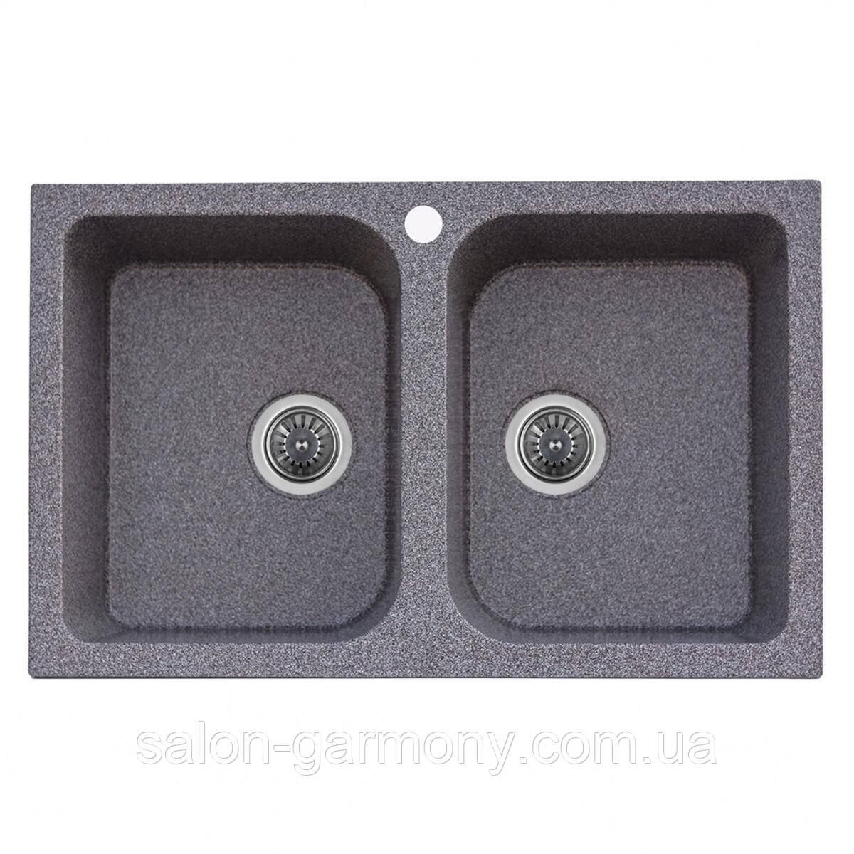 Гранітна мийка для кухні Platinum 7648W TWIN глянець Антрацит