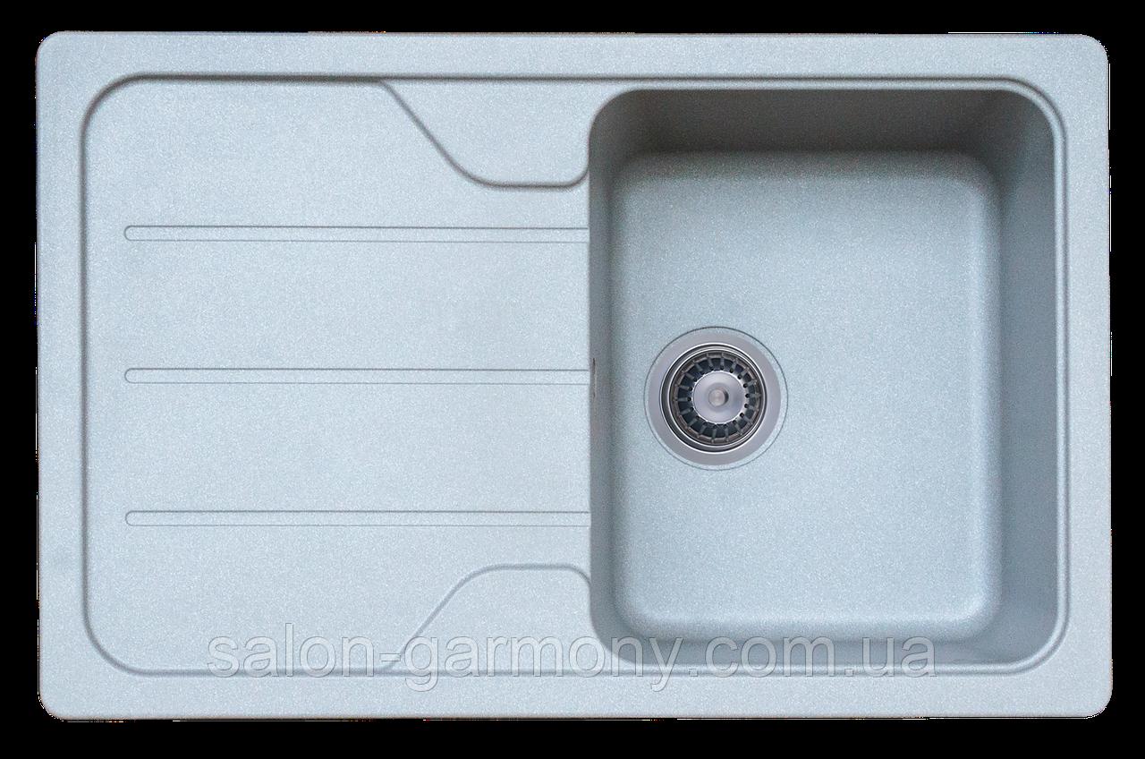 Гранітна мийка для кухні Platinum 7850 VERONA матовий Сірий металік