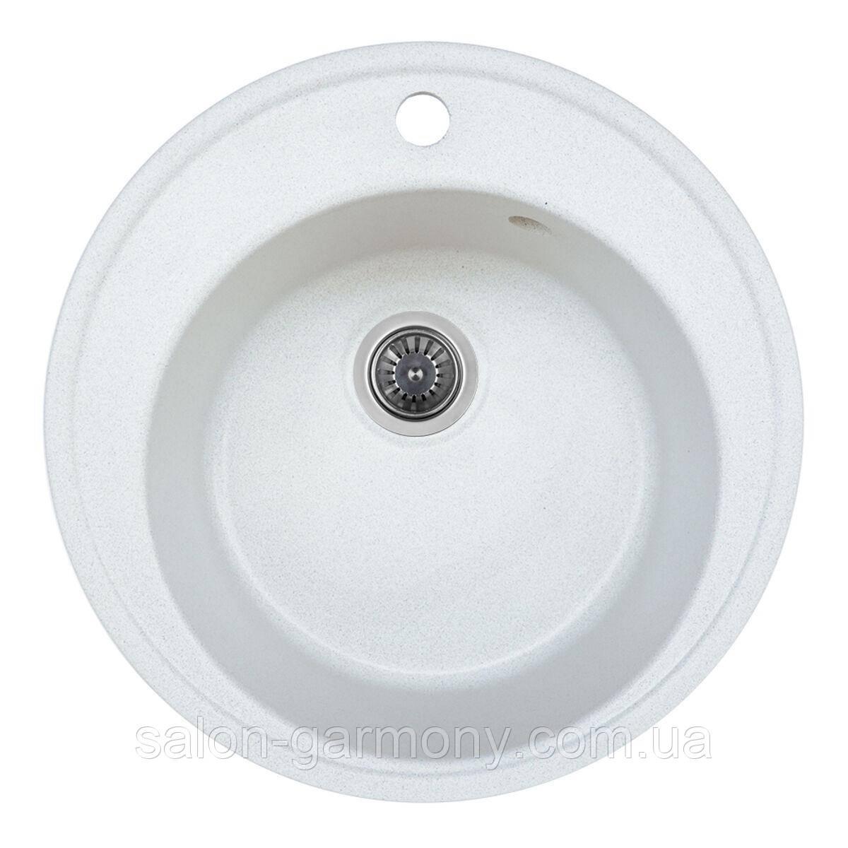 Гранітна мийка для кухні Platinum 510 YARA глянець Біла в точку