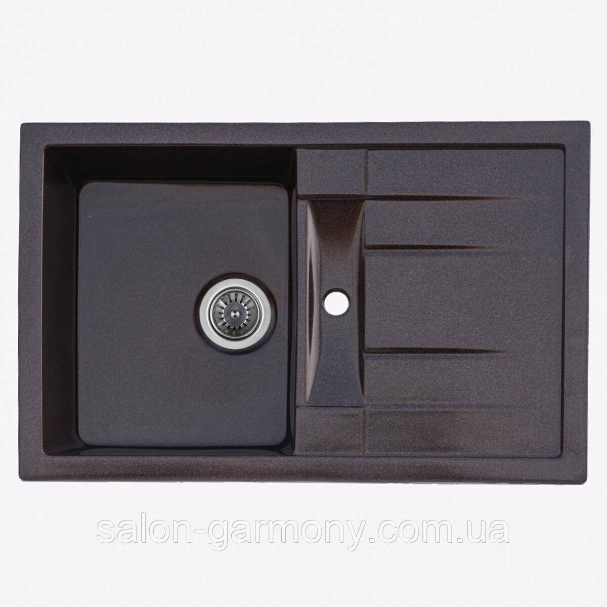 Гранитная мойка для кухни Platinum 7850 PRETSO глянец Черная