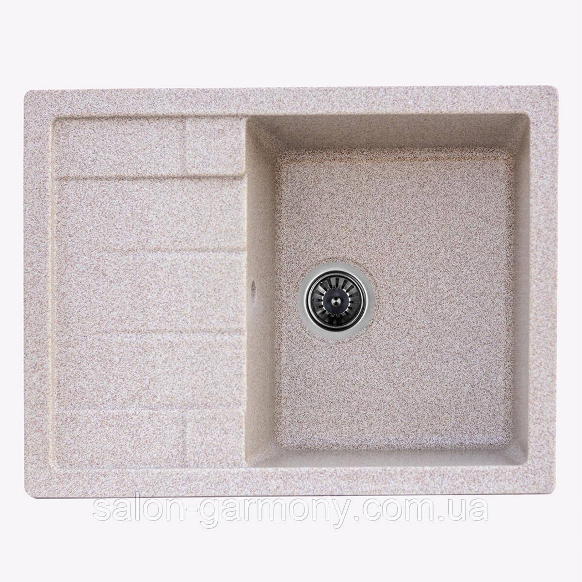 Гранітна мийка для кухні Platinum 6550 LOTOS глянець Карамель