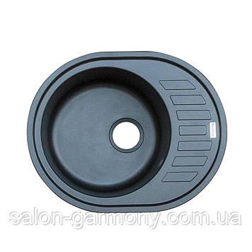 Гранитная мойка для кухни Platinum 6250 SOUL матовая Черный металлик