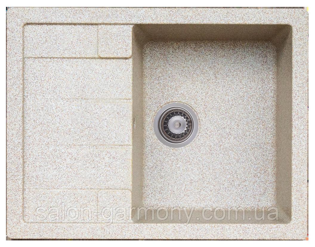 Гранитная мойка для кухни Platinum 6550 INTENSO матовая Карамель