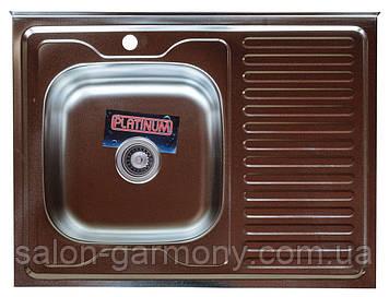 Кухонная мойка из нержавеющей стали Platinum 8060 R САТИН 0,7 / 160