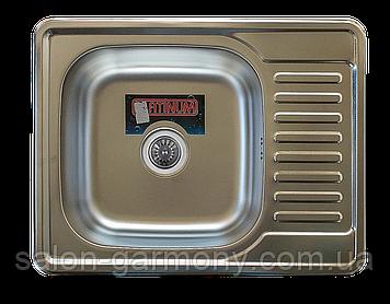 Кухонная мойка из нержавеющей стали Platinum 6550 САТИН 0,8 / 180
