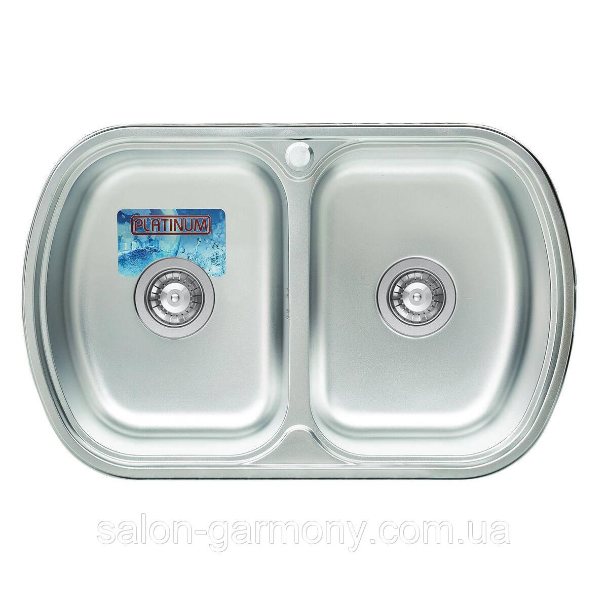 Кухонная мойка из нержавеющей стали Platinum 7749D САТИН 0,8 / 180