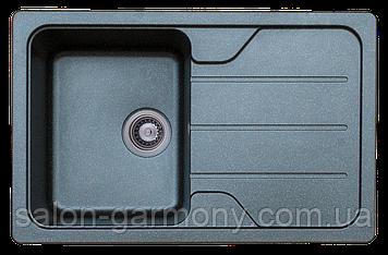 Гранитная мойка для кухни Platinum 7850 VERONA матовая Черный металлик
