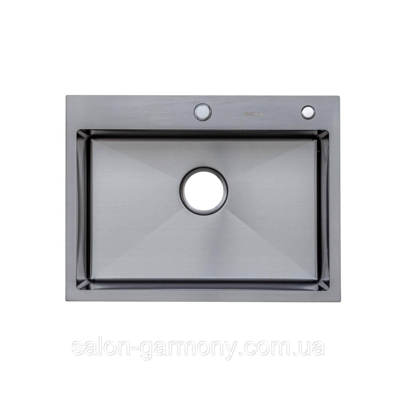Кухонна мийка Platinum Handmade PVD чорна 60 * 45/220 3,0 / 1,5 мм кошик і дозатор в комплекті